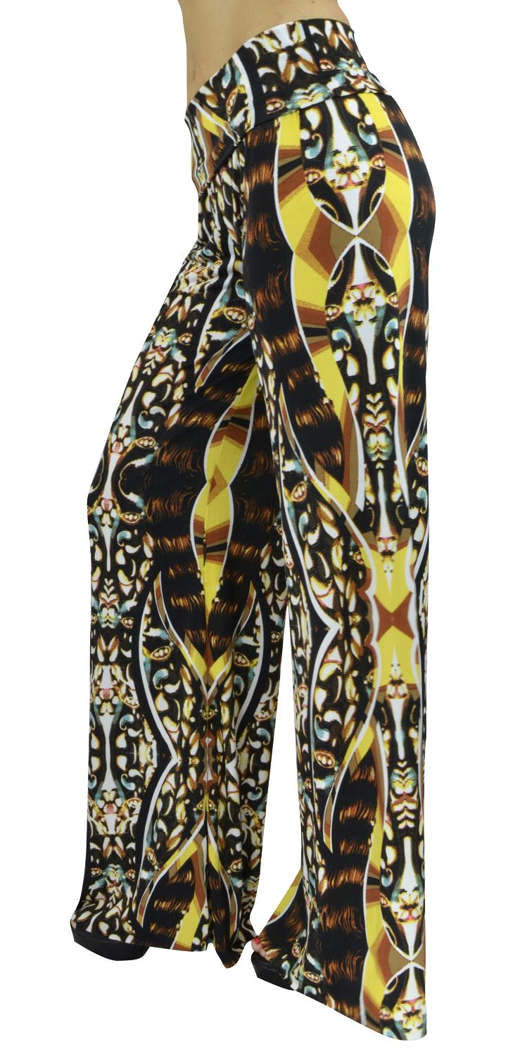 Belle Donne- Women's High Waist Palazzo Pants - Brown Hippy print/M