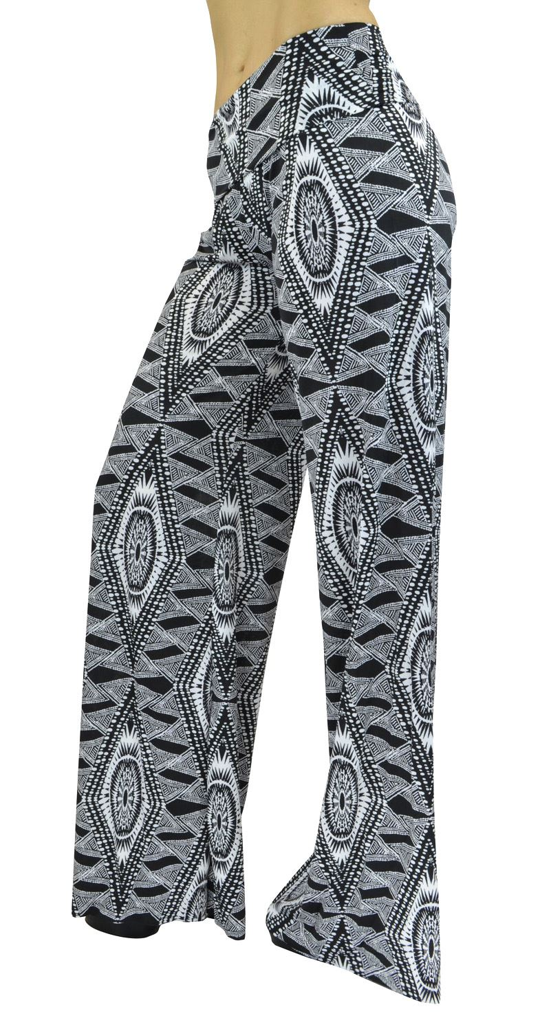 Belle Donne- Women's High Waist Palazzo Pants -Black/White Tribal spikey oval/M