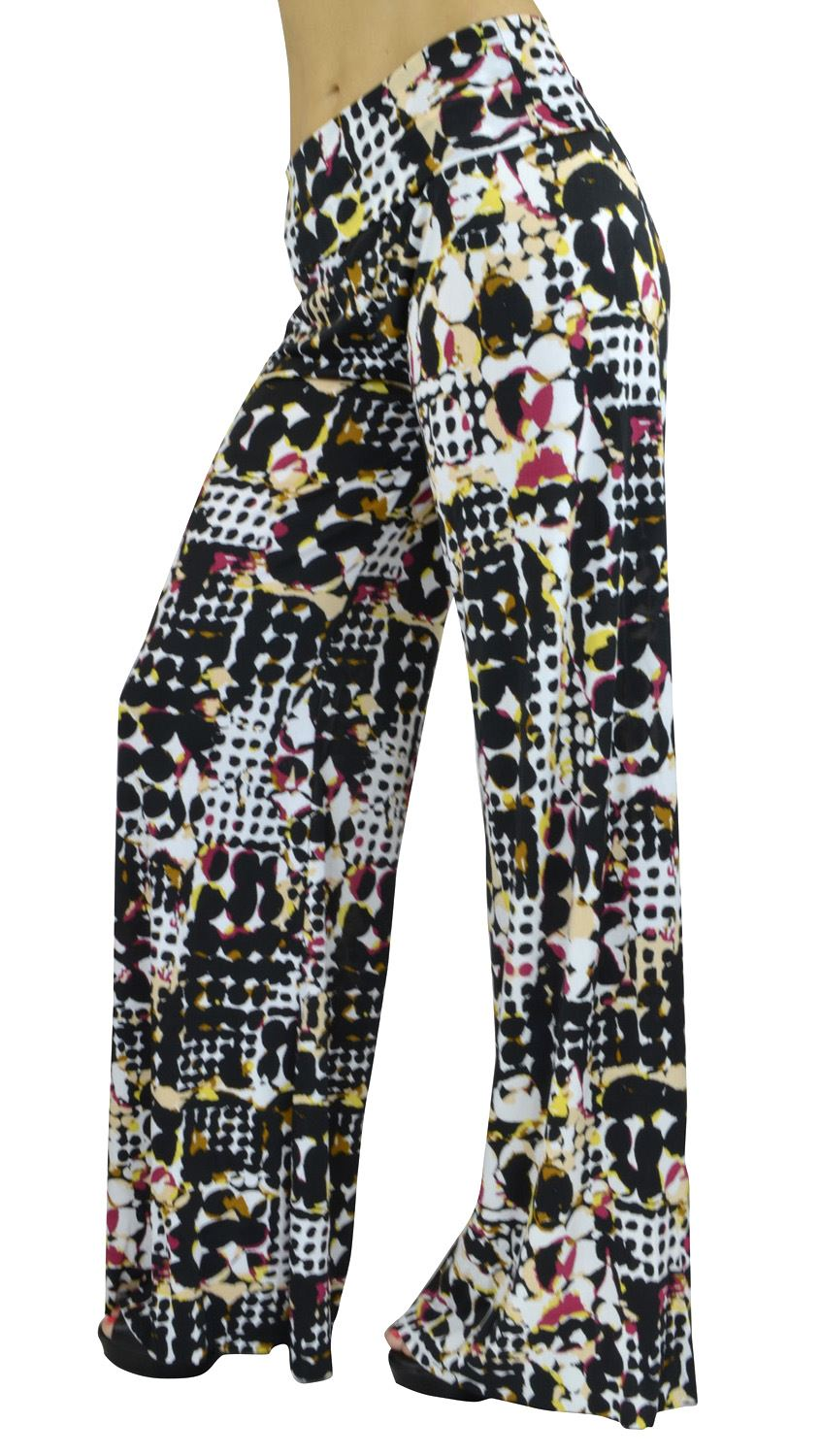 Belle Donne- Women's High Waist Palazzo Pants - Abstract Geometric Print/M