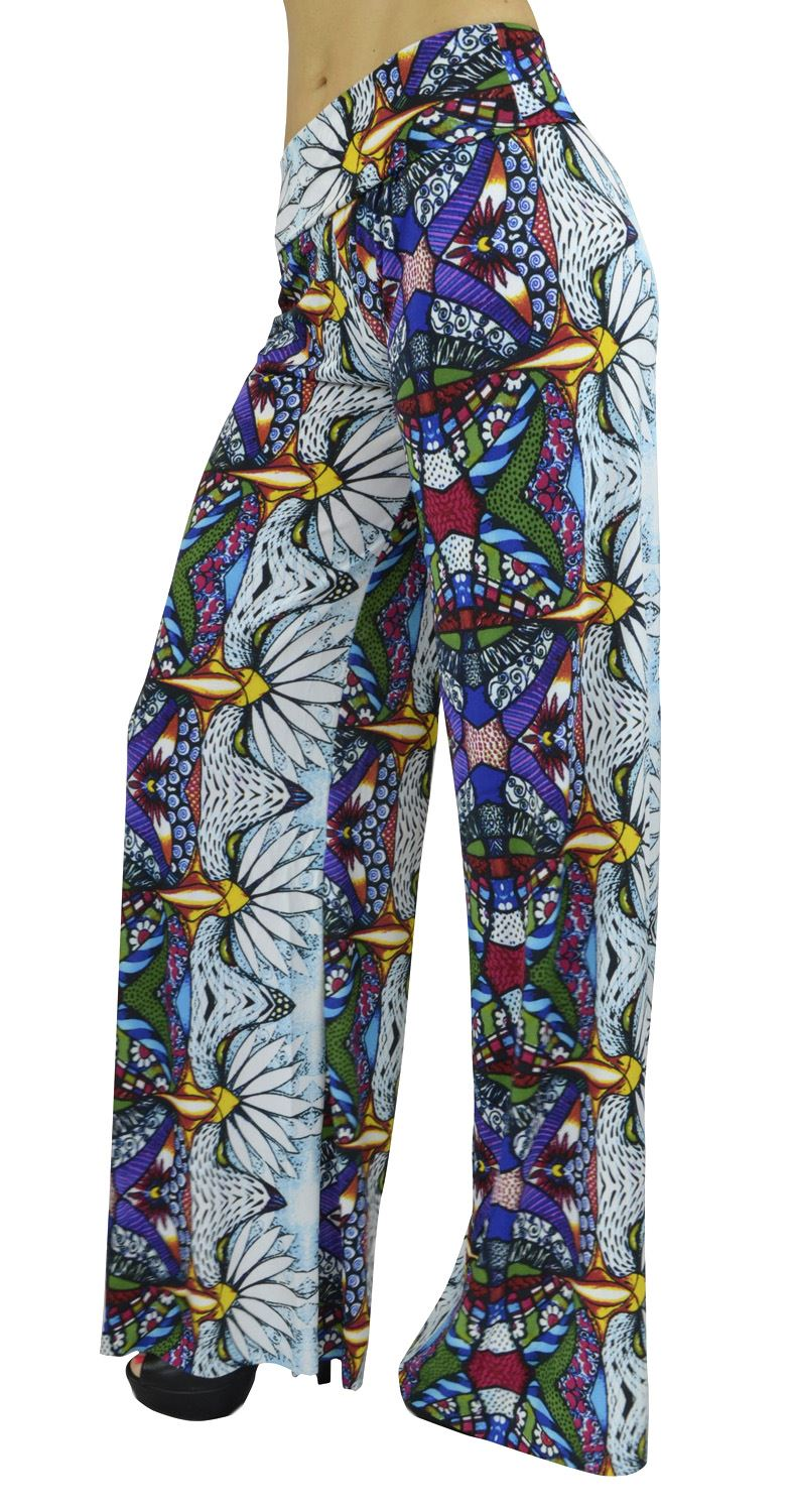 Belle Donne- Women's High Waist Palazzo Pants - Mosaic Daisy Printed/M