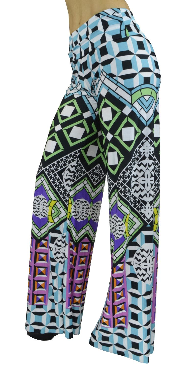 Belle Donne- Women's High Waist Palazzo Pants - Geometric print/S