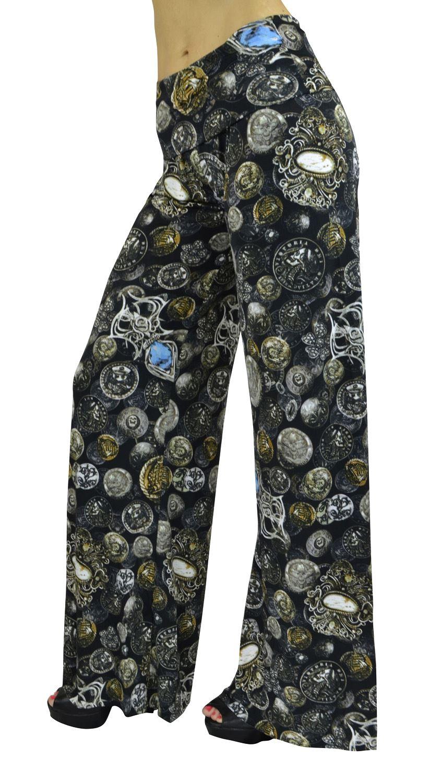 Belle Donne- Women's High Waist Palazzo Pants - Vintage Coins print/S