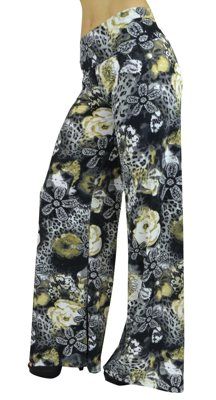 Belle Donne Women's High Waist Palazzo Pants - Lace Floral Cheetah Print/S