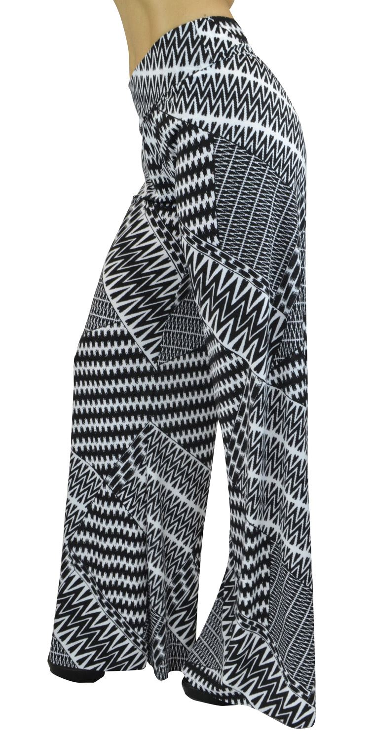 Belle Donne- Women's High Waist Palazzo Pants - Black & White Zig-Zag printed/L