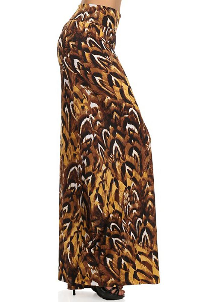 Belle Donne- Women's High Waist Palazzo Pants - Feathered Cheetah print/L