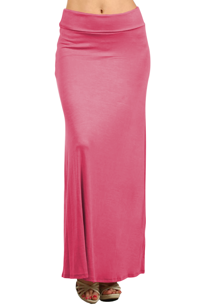 Belle Donne- Women's Maxi Skirt Stretchy Full Length Solid Color Long Skirt - Coral Pink/