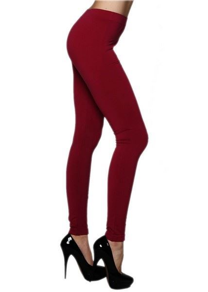 Solid Warm Red Color Seamless Legging