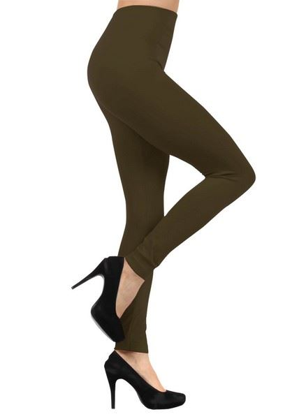 Army Green Lady's Celine Solid Color Seamless Fleece Legging, Weight : 175 Grams