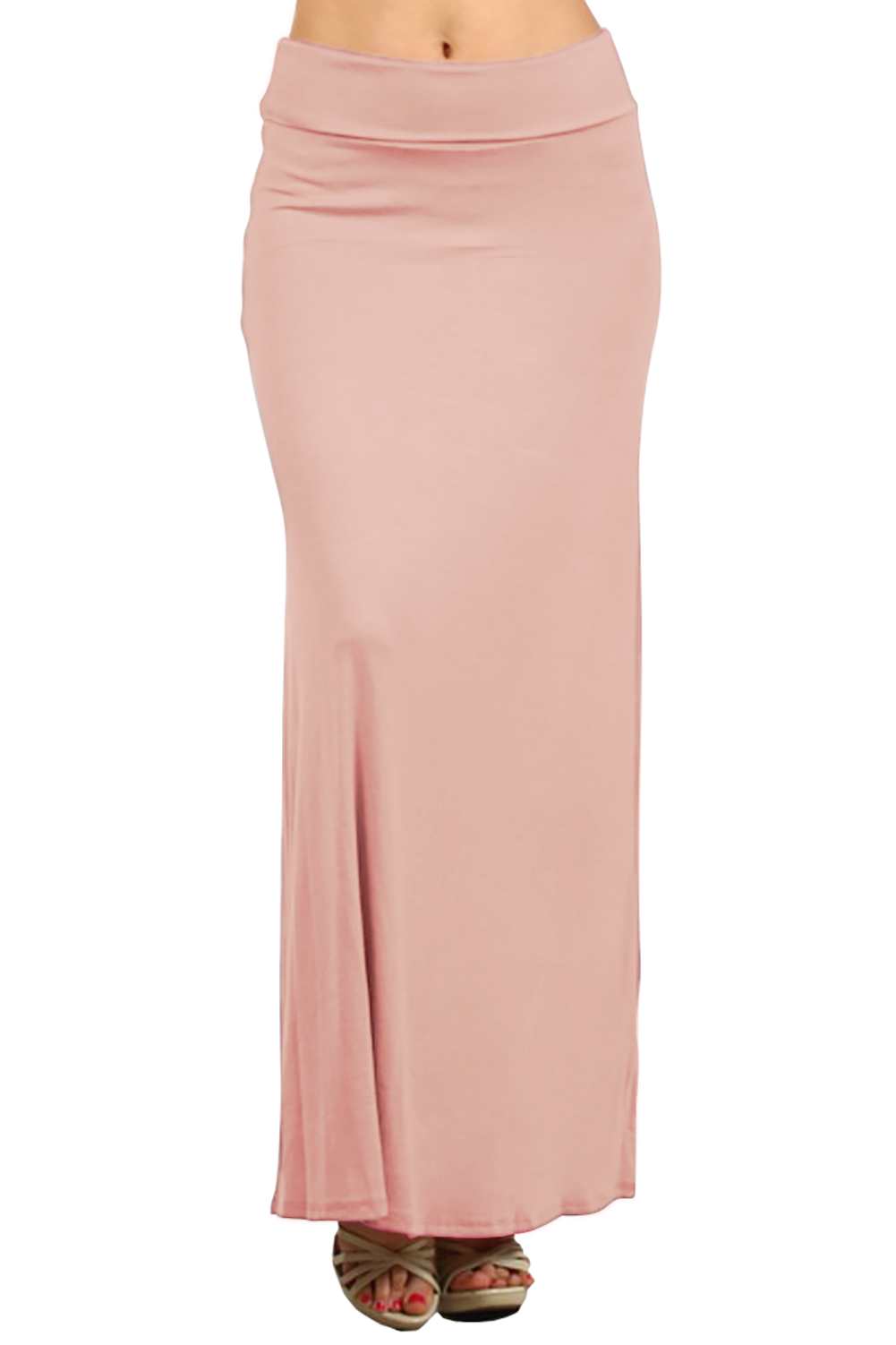 Belle Donne- Women's Maxi Skirt Stretchy Full Length Solid Color Long Skirt - Light Peach/