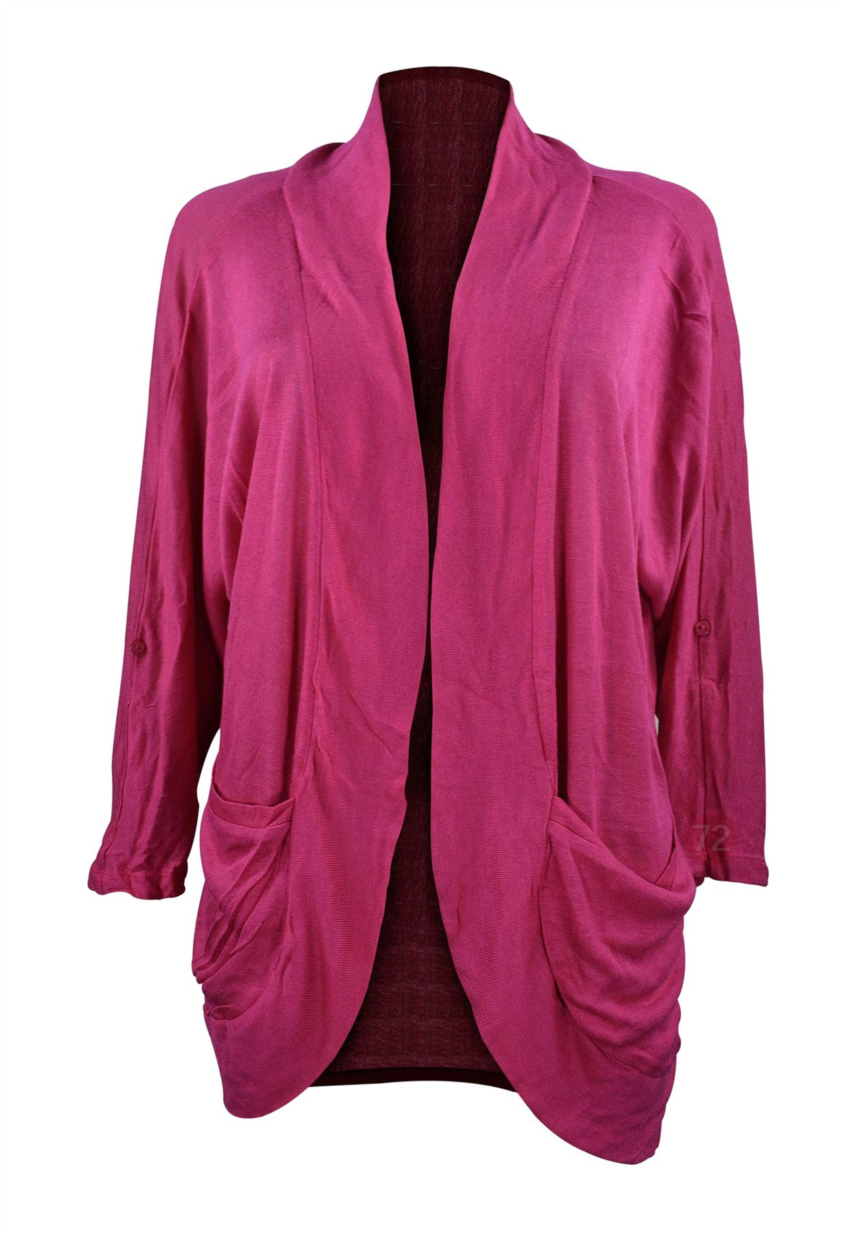 Belle Donne - Women's Hacci sleeve , Collar Open Front Plus Size Cardigan - Magenta, XL