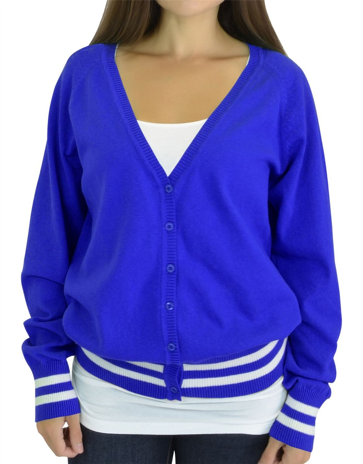 Belle Donne - Women's Plus Size Trendy Bottom Double Stripe V-Neck Long Sleeve Cardigan - Bright Royal/Ivory, XL