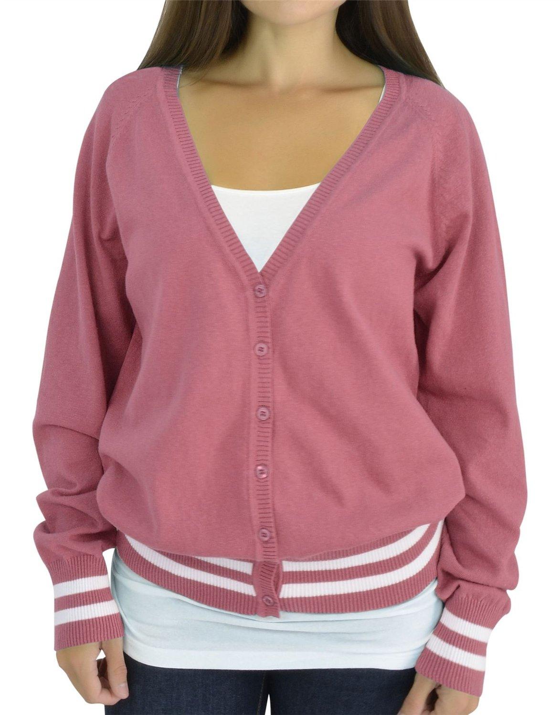 Belle Donne - Women's Plus Size Trendy Bottom Double Stripe V-Neck Long Sleeve Cardigan - Coral/Ivory, XL
