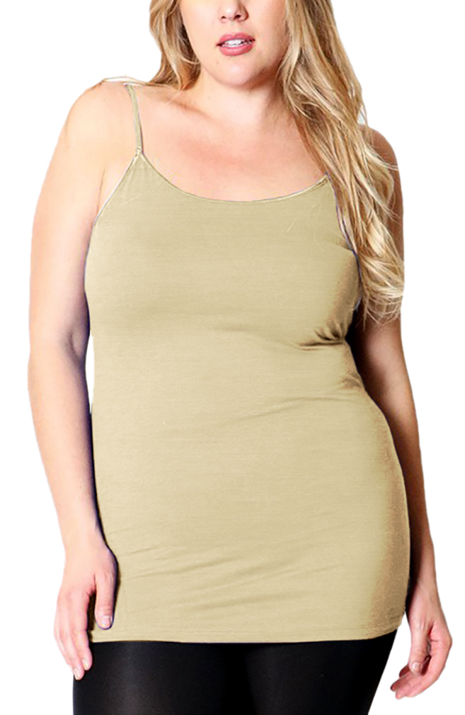 Belle Donne - Women's Plus Size Stretch Camisole Spaghetti Strap- Heather Beige/XX-Large