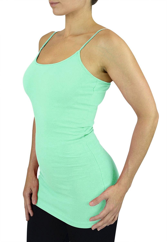 Belle Donne Womens Solid Color Stretch Camisole Spaghetti Strap - Aqua Marine/Medium