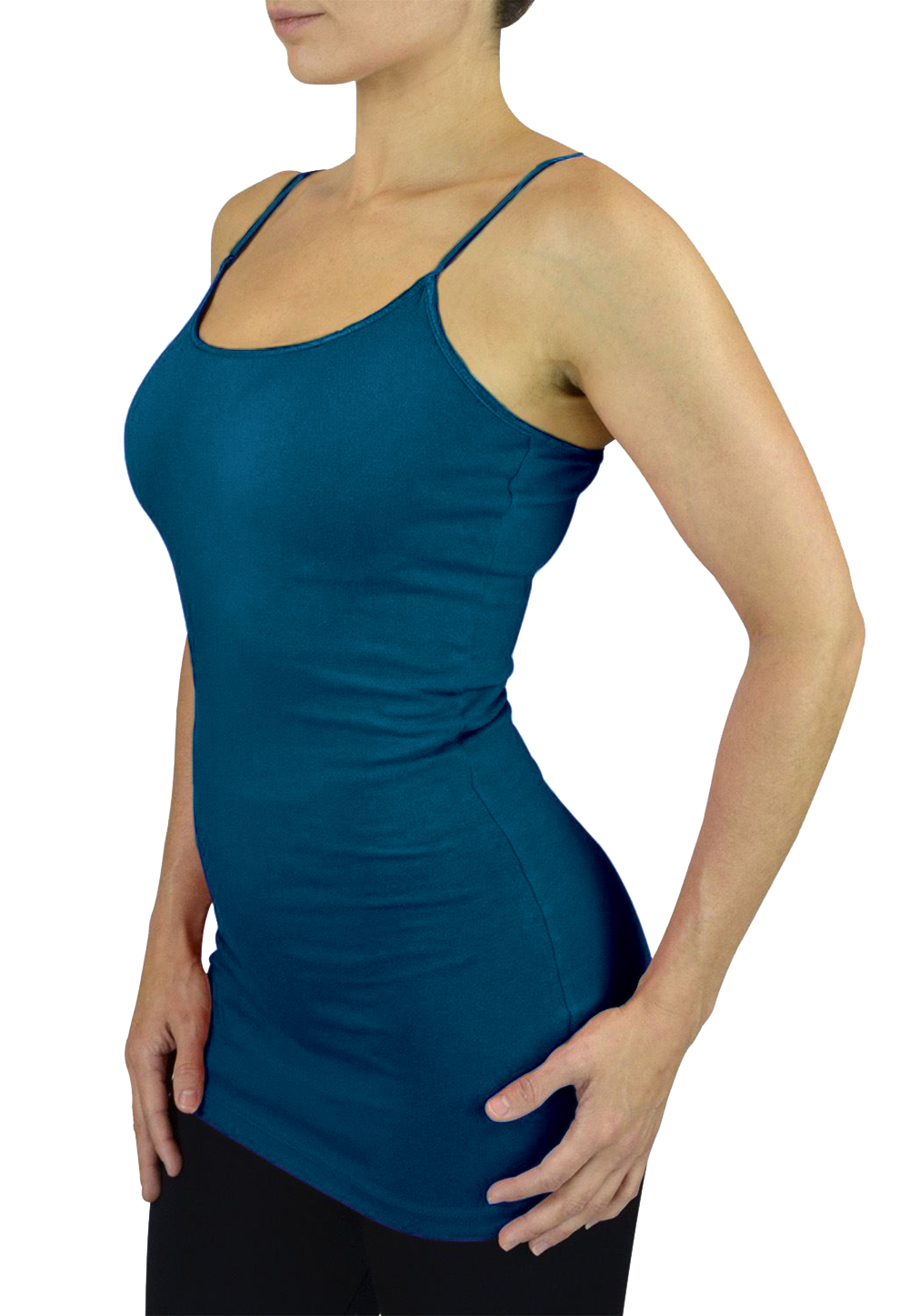 Belle Donne Womens Solid Color Stretch Camisole Spaghetti Strap - Blue Jade/Medium