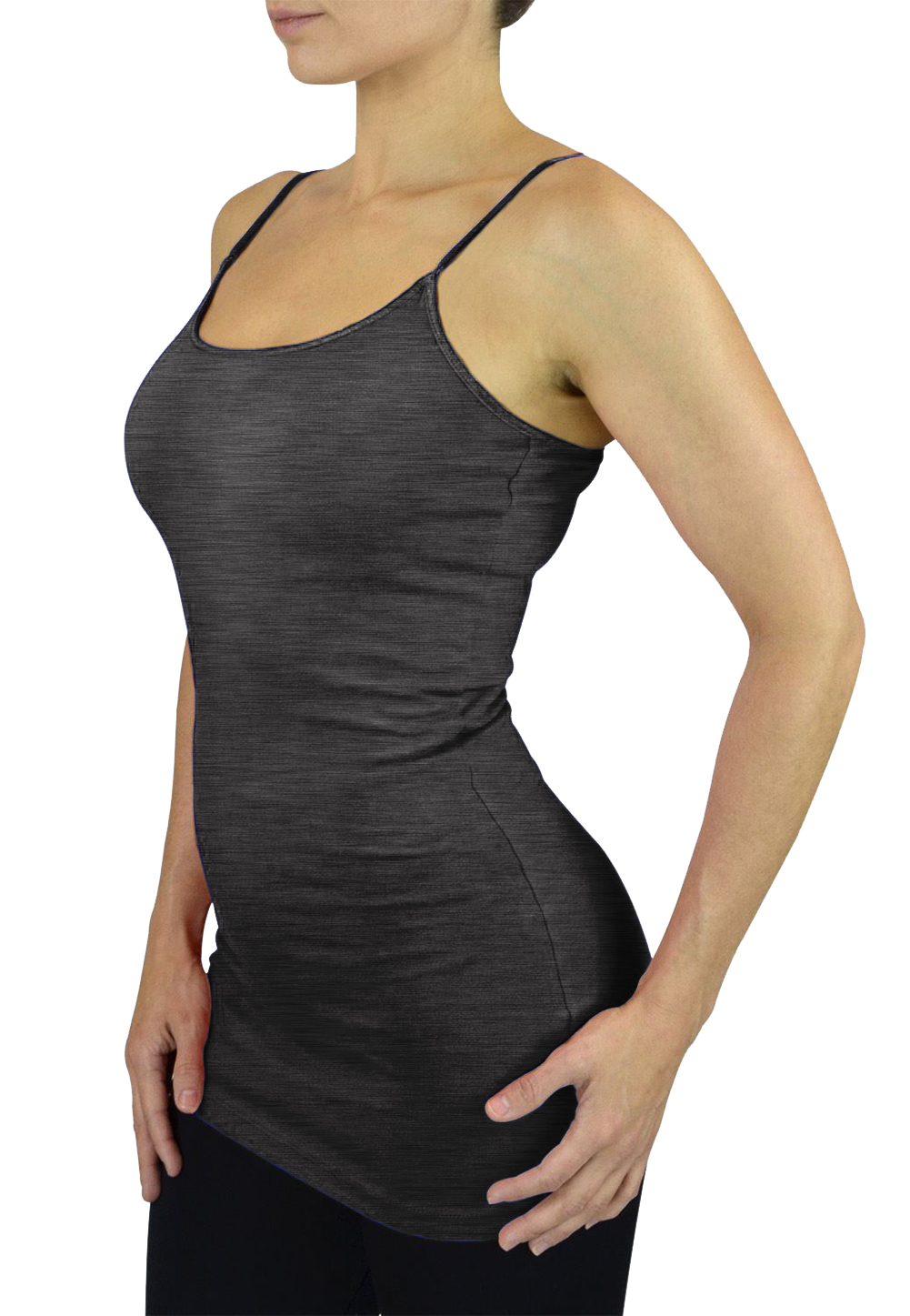 Belle Donne Womens Solid Color Stretch Camisole Spaghetti Strap - Charcoal/Large