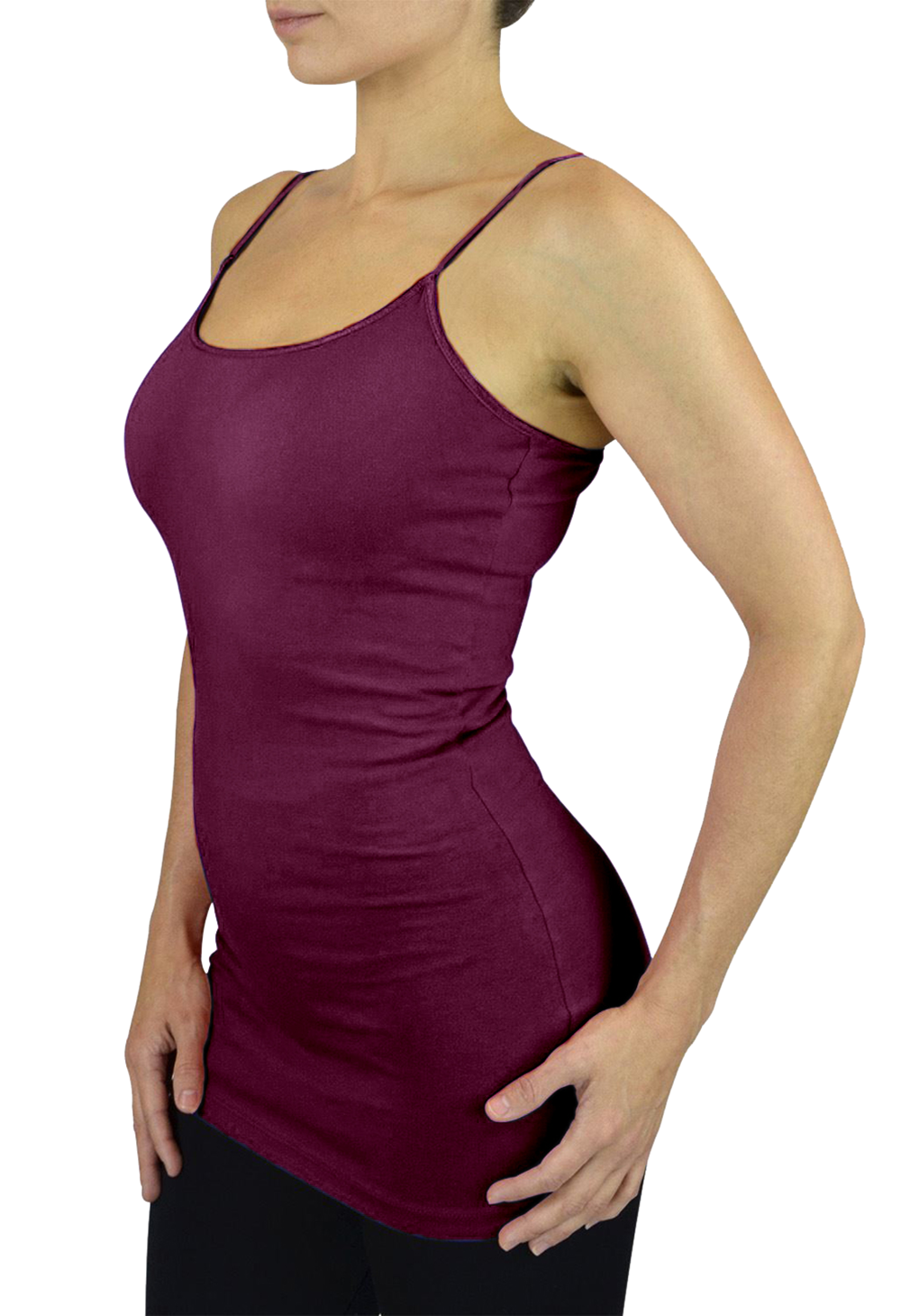 Belle Donne Womens Solid Color Stretch Camisole Spaghetti Strap - Plum/Medium