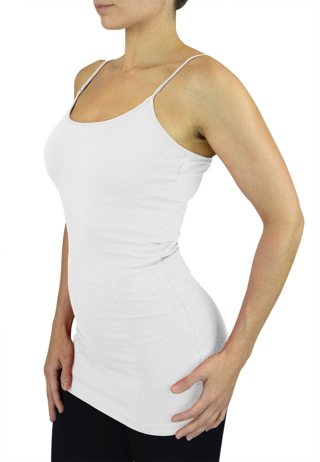 Belle Donne Womens Solid Color Stretch Camisole Spaghetti Strap - White/Large