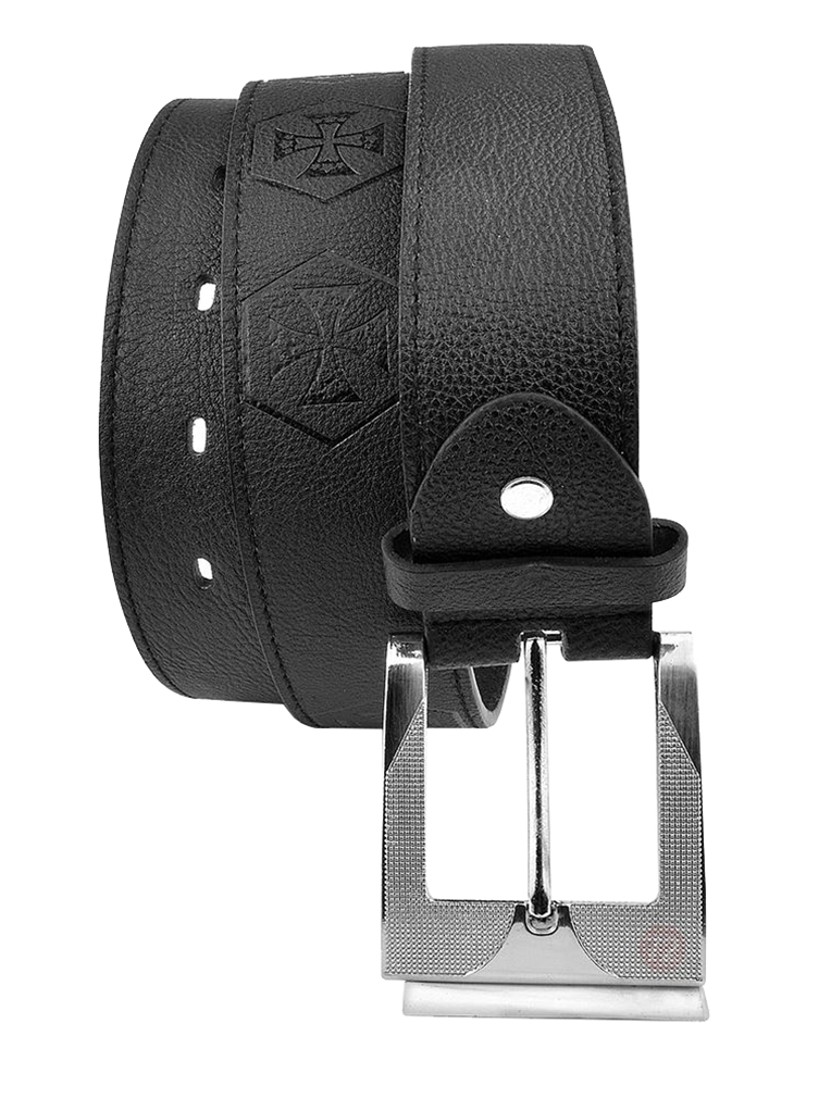 Moda Di Raza-Mens Leather Iron Cross Belt - Dress Belt - Silver Polished Square Buckle - Single Prong Buckle - Black/L