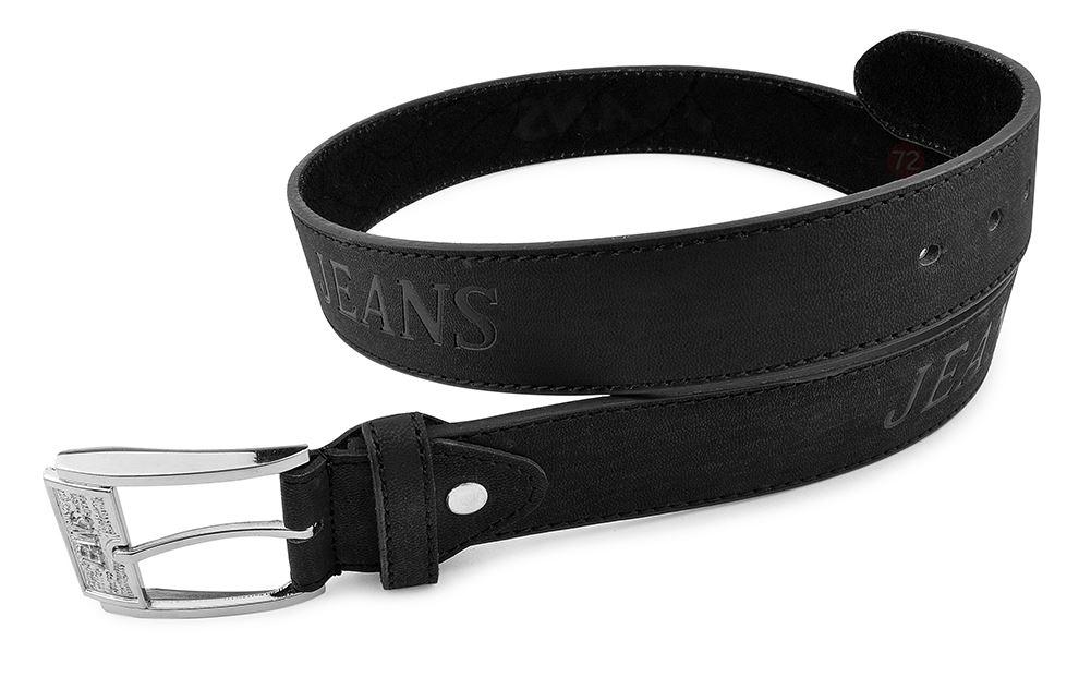 Moda Di Raza-Men Leather Belt - Jean Dress Belt With Buckle Desginer Inspired - Black-IV/Large