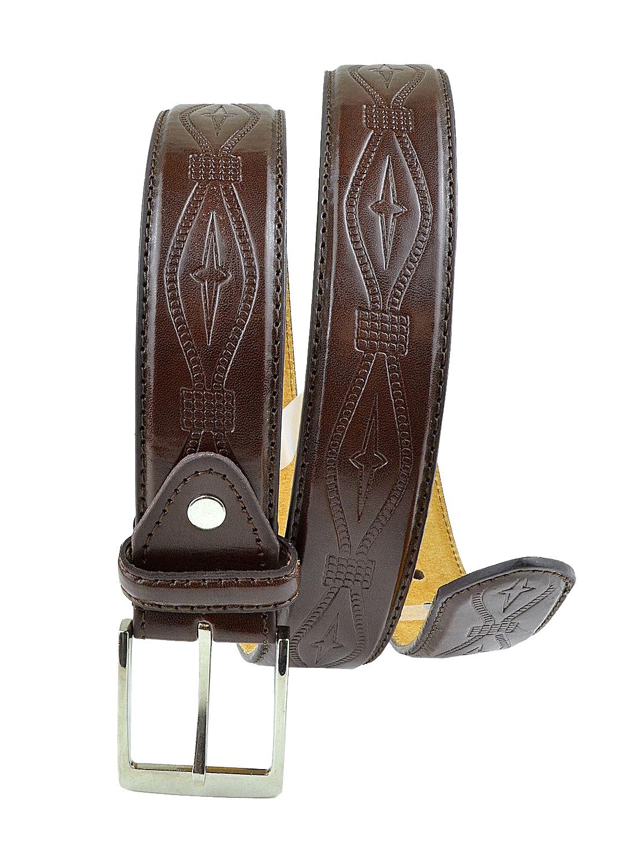 Moda Di Raza-Mens Leather Iron Cross Belt - Dress Belt - Silver Polished Square Buckle - Rustic Western Style Waist Belt - Single Prong Buckle - Brown