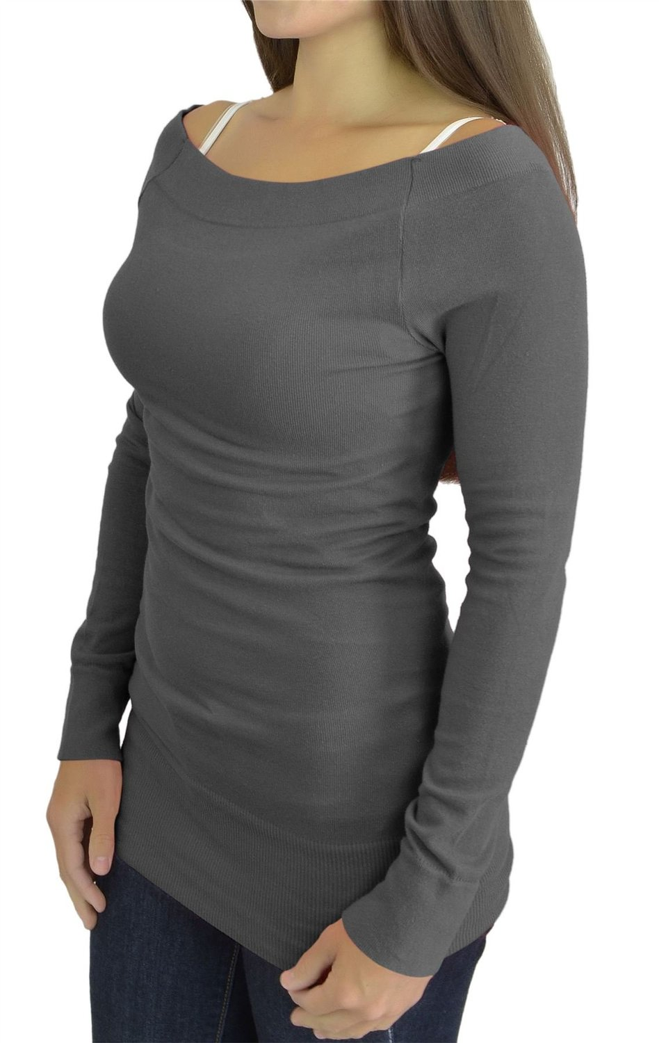 Belle Donne - Women's Seamless Long Sleeve Boat-Neck Solid Color Tunic Top - Gray, Small/Medium