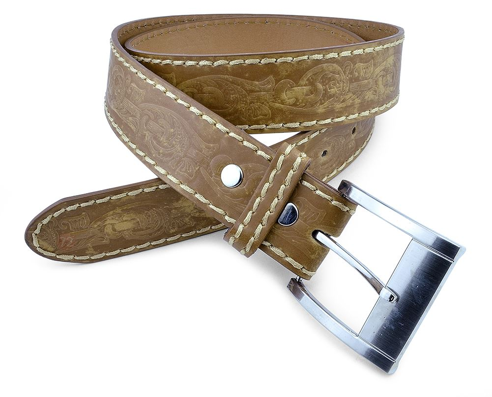 Moda Di Raza-Men Leather Belt - Jean Dress Belt With Buckle Desginer Inspired - Tan/Small