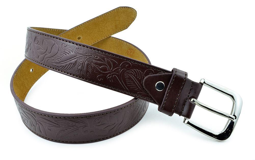 Moda Di Raza-Men Leather Belt - Jean Dress Belt With Buckle Desginer Inspired - Brown-VII/Large