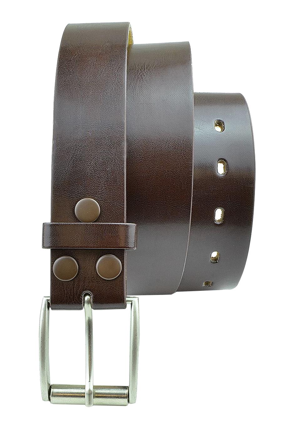 Moda Di Raza- Men's Belt - Dress Belt - Silver Polished Square Buckle - Single Prong Buckle - Brown/XL