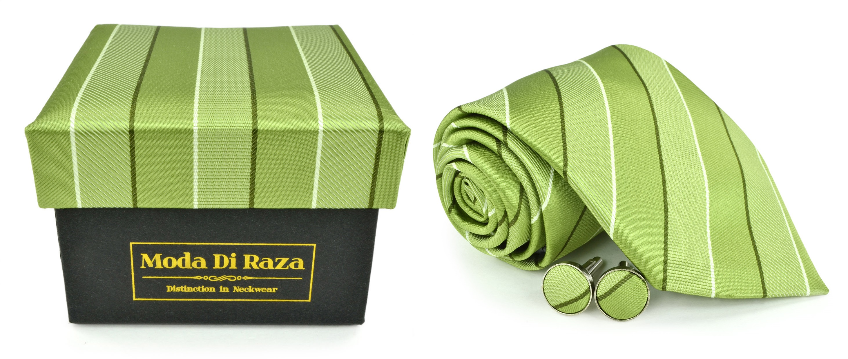 Moda Di Raza Men's NeckTie 3.0 With Cufflink n Gift Box Wedding Formal Events - Green
