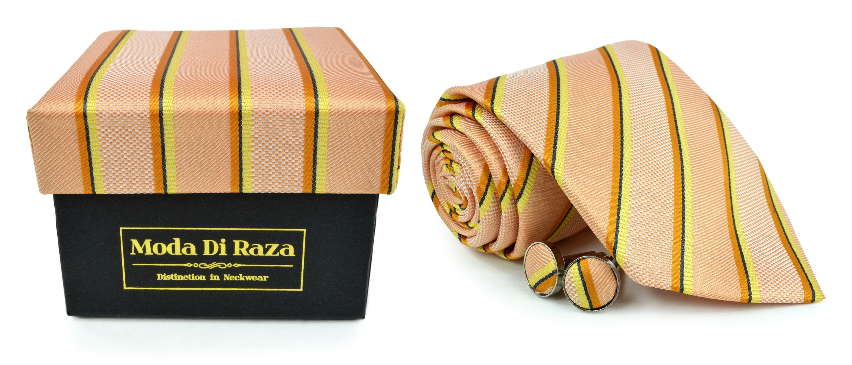 Moda Di Raza Men's NeckTie 3.0 With Cufflink n Gift Box Wedding Formal Events - Orange