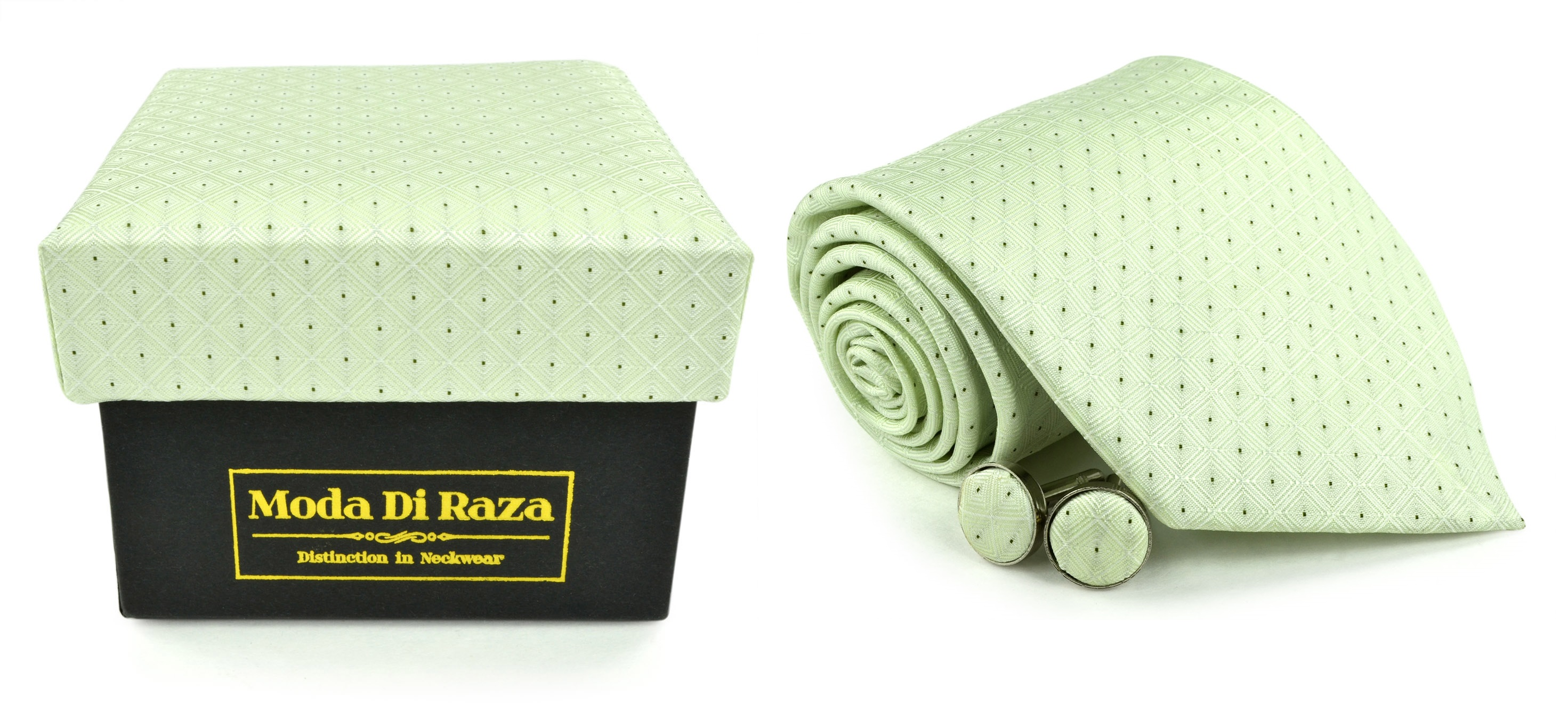 Moda Di Raza Men's NeckTie 3.0 With Cufflink n Gift Box For Formal Events - Light Mint