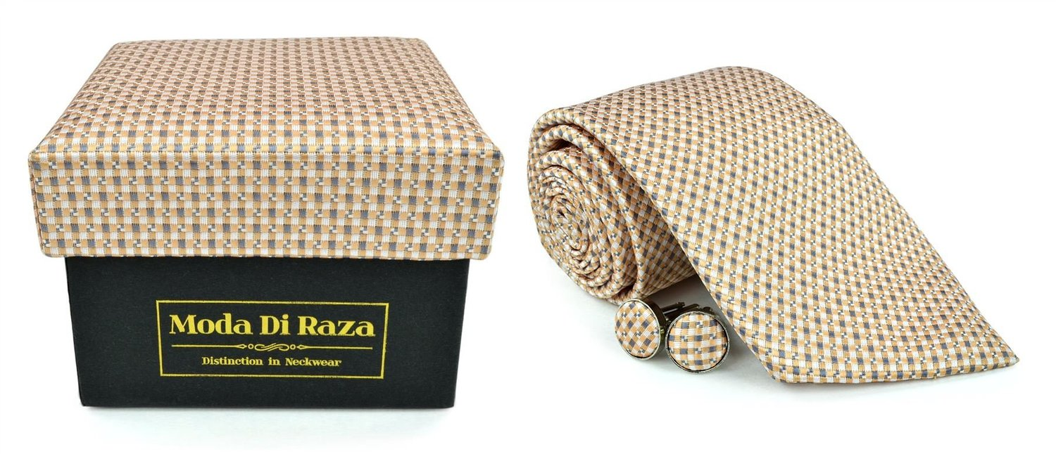 Moda Di Raza Men's NeckTie 3.0 With Cufflink n Gift Box For Formal Events - LightBrown