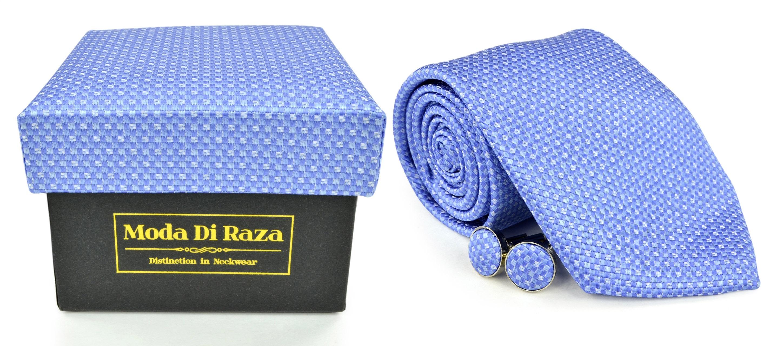 Moda Di Raza Men's NeckTie 3.0 With Cufflink n Gift Box Wedding Formal Events - White