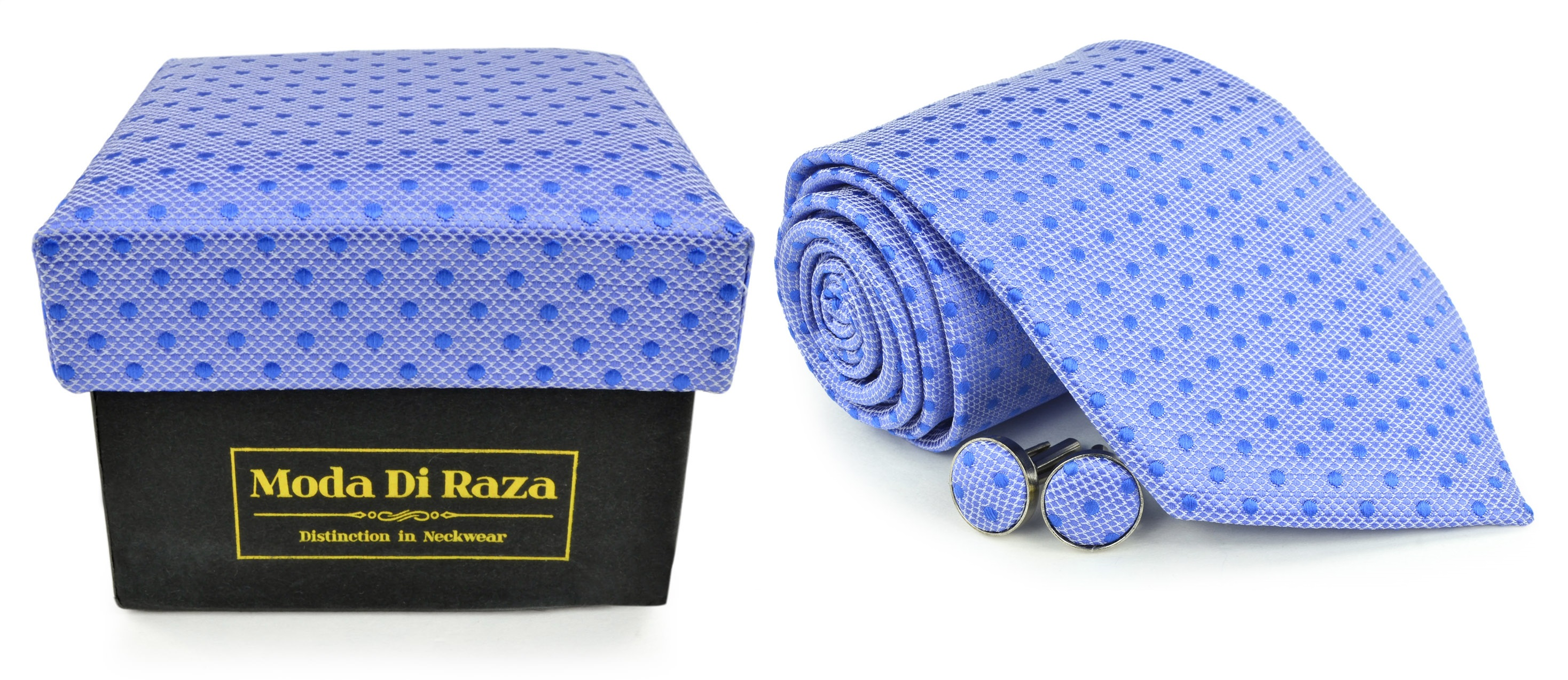 Moda Di Raza Men's NeckTie 3.0 With Cufflink n Gift Box Wedding Formal Events - LightBlue