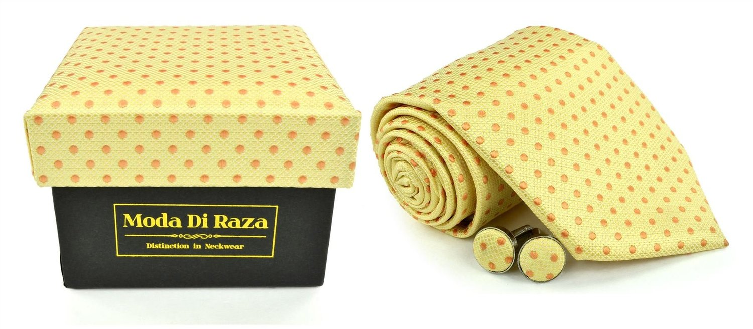 Moda Di Raza Men's NeckTie 3.0 With Cufflink n Gift Box Wedding Formal Events - Yellow