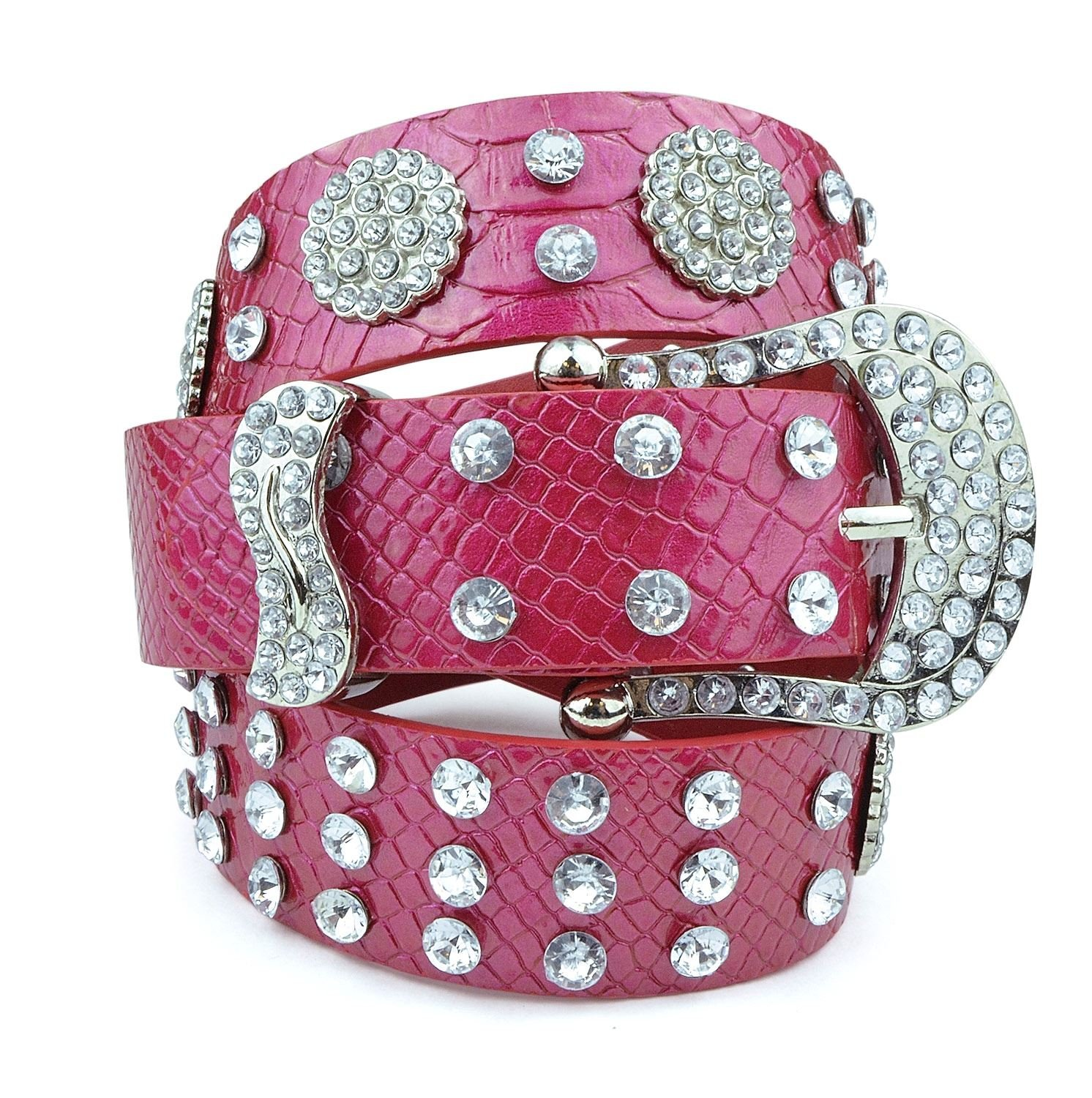 Womens Studded Belts - Multiple Colors & Designs - Western Cowgirl PU Leather Rhinestone Belt with Bling Buckles by Belle Donne - Red-IV
