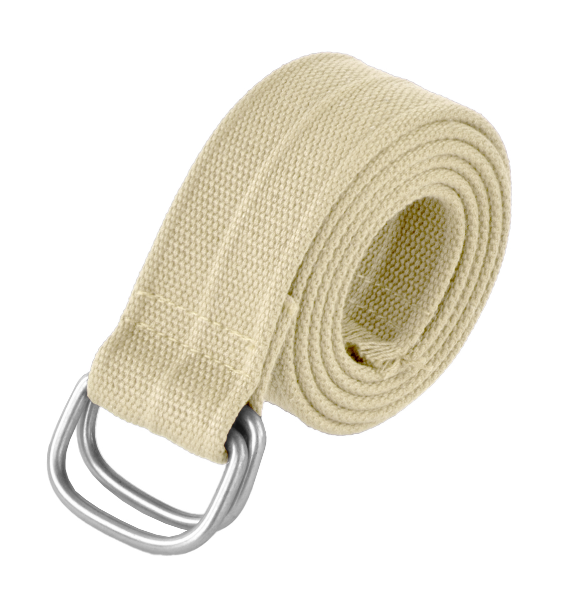 Attractive & Durable Mens Cotton Belt with Loop Buckle By Stone Touch - Mens Belts Beige Silver Buckle 47 Inches