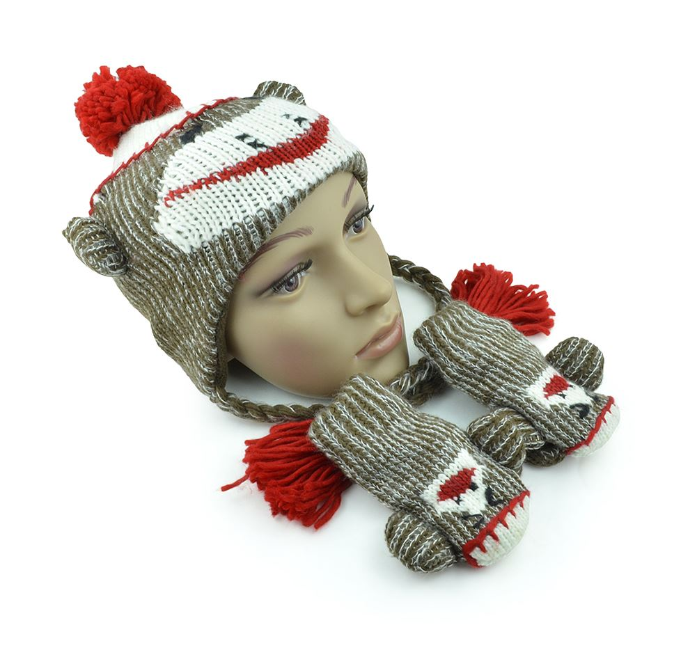 Unisex Warm Toddler Cute Brown Knit Sock Monkey Hat Winter Youth Baby Animal