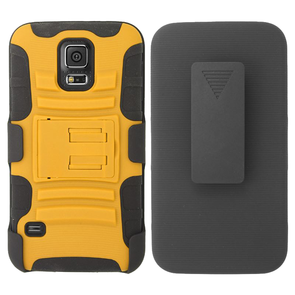 For Samsung Galaxy S5 - Heavy Duty Armor Style 2 Case w/ Holster - Black/Orange AM2H