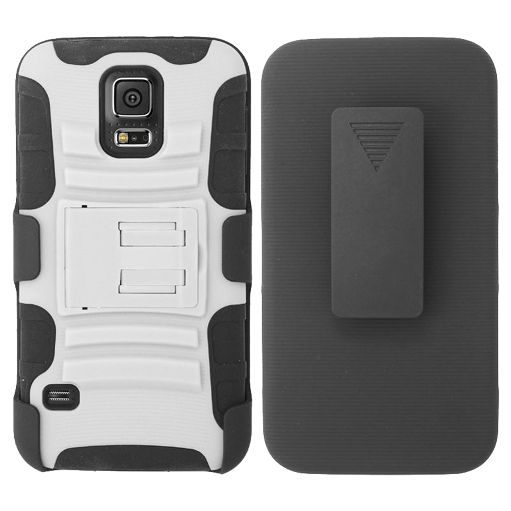 For Samsung Galaxy S5 - Heavy Duty Armor Style 2 Case w/ Holster - Black/White AM2H