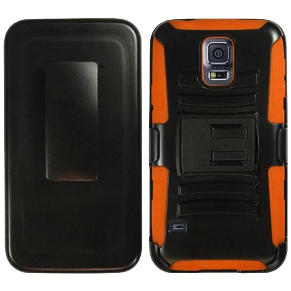 For Samsung Galaxy S5 - Heavy Duty Armor Style 2 Case w/ Holster - Orange/Black AM2H