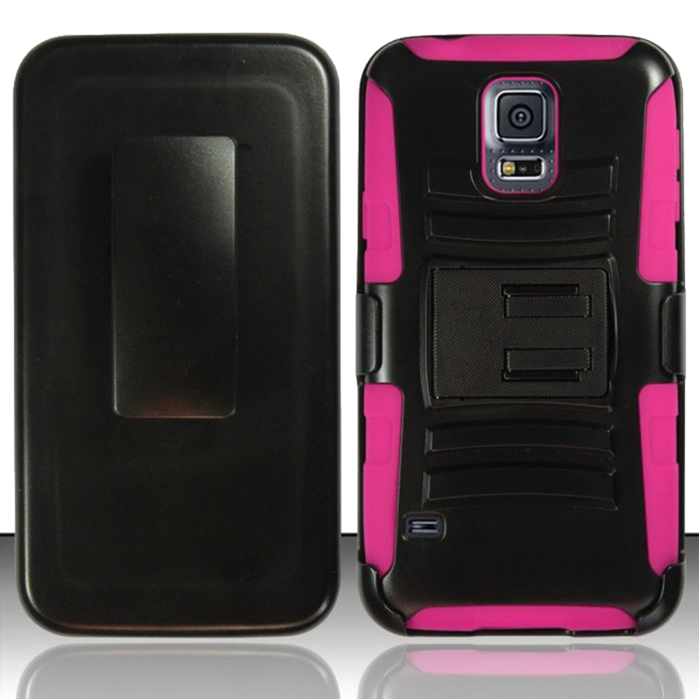 For Samsung Galaxy S5 - Heavy Duty Armor Style 2 Case w/ Holster - Hot Pink/Black AM2H