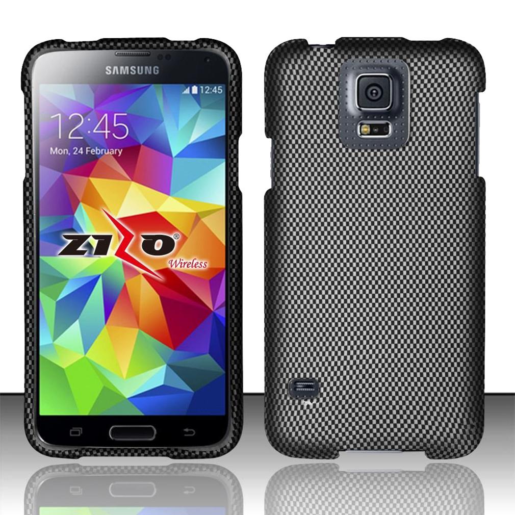 For Samsung Galaxy S5 - Rubbeirzed Design Cover - Carbon Fiber