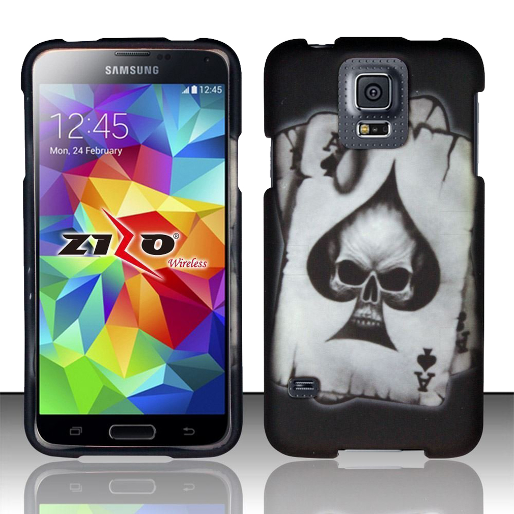 For Samsung Galaxy S5 - Rubbeirzed Design Cover - Spade Skull