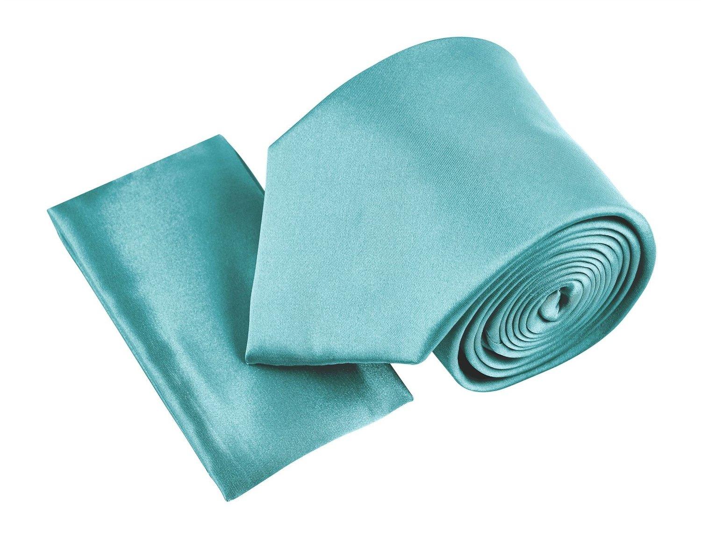 Belle Donne- Men's Solid Satin Silk NeckTie With Handkerchief -Tiffny Blue