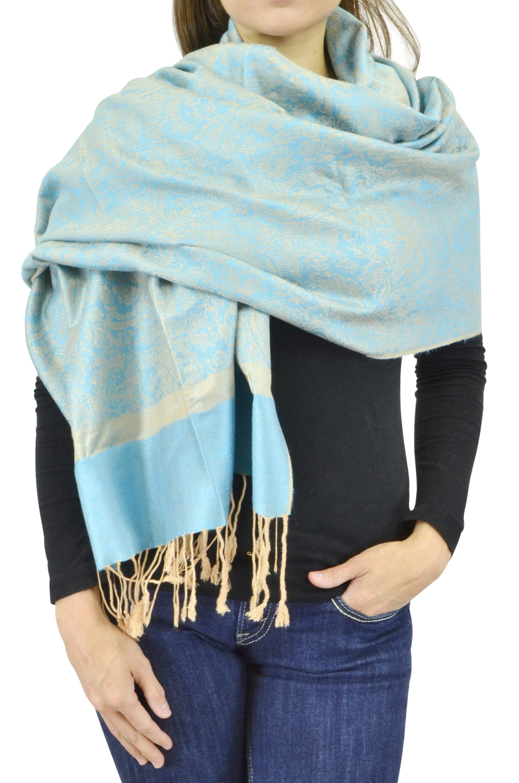 Belle Donne Women's Paisley Pashmina Shawl Wrap Scarf - Aqua