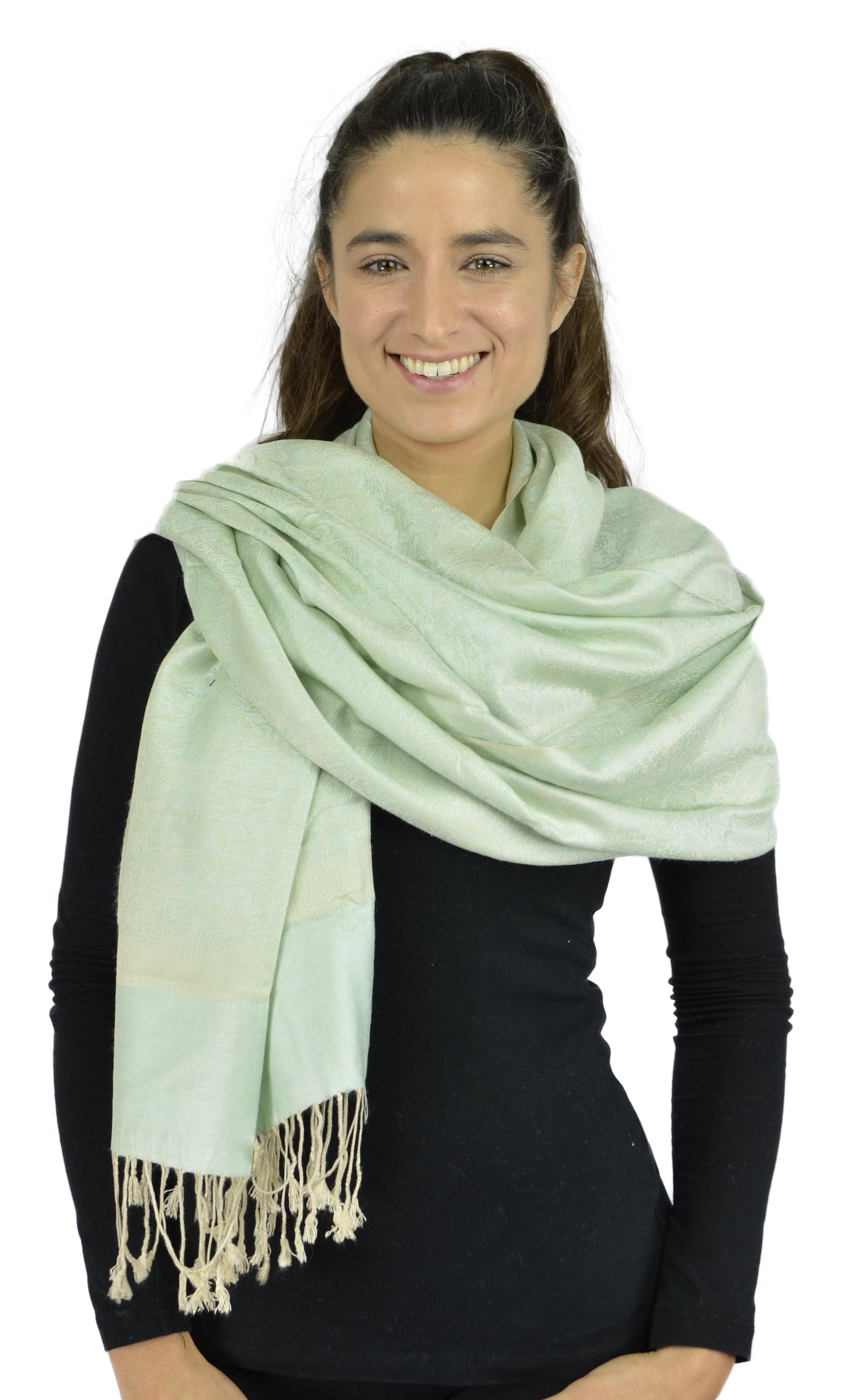 Belle Donne Women's Paisley Pashmina Shawl Wrap Scarf - Baby Green