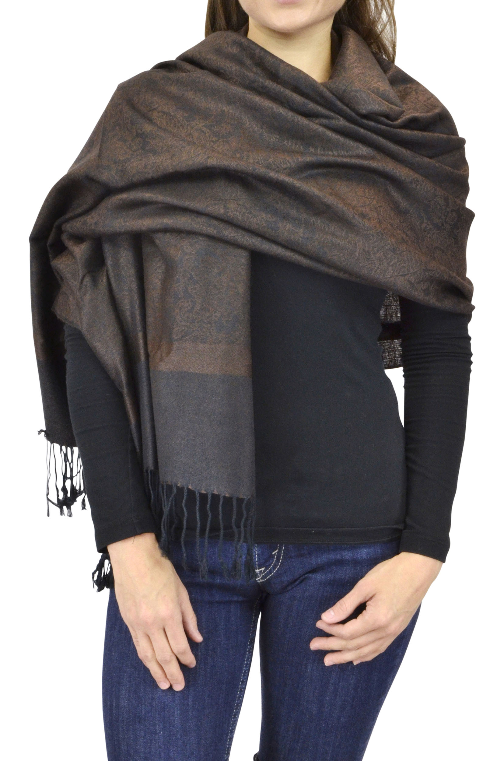 Belle Donne Women's Paisley Pashmina Shawl Wrap Scarf - Chocolate Brown