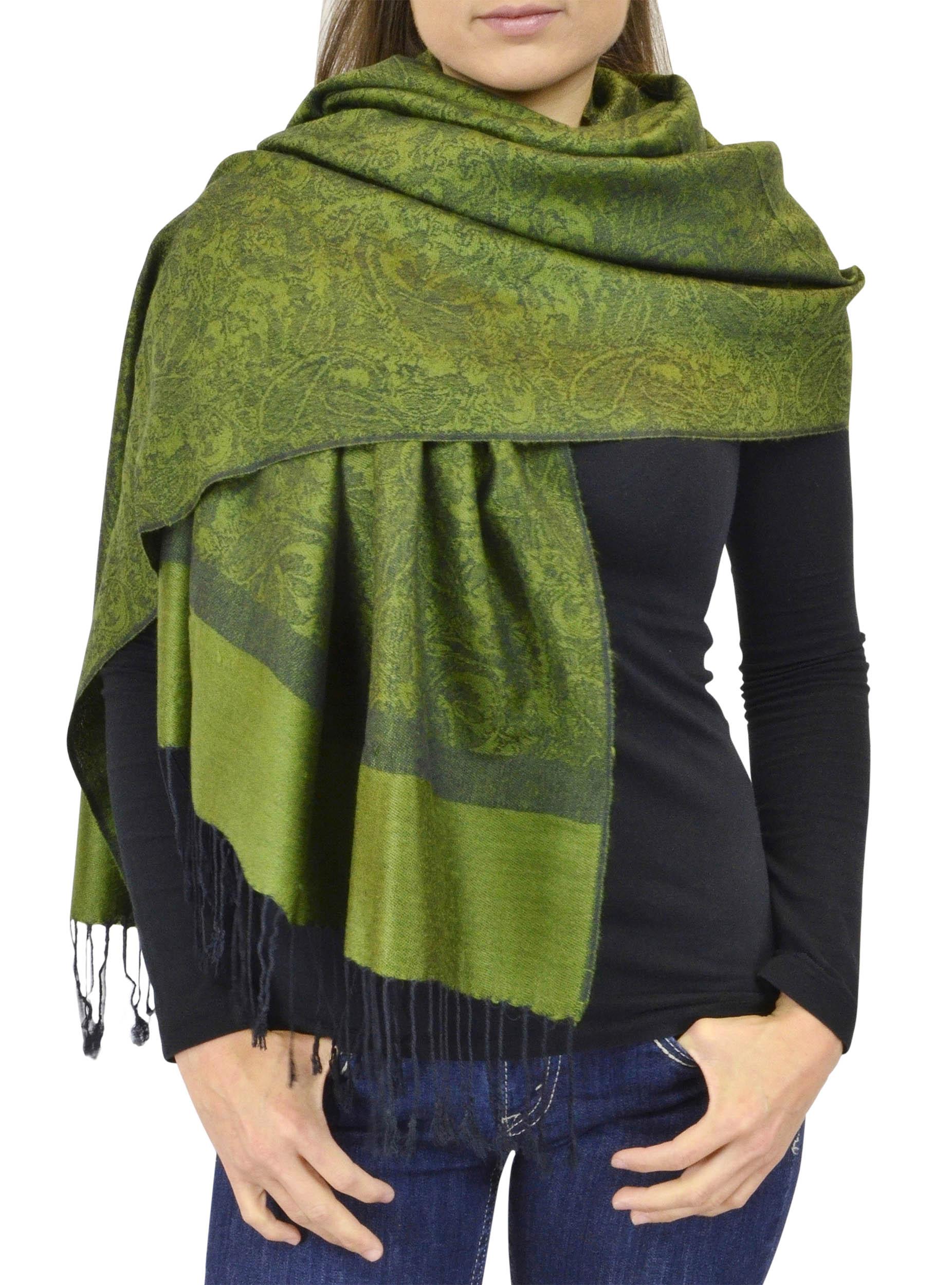 Belle Donne Women's Paisley Pashmina Shawl Wrap Scarf - Dark Green